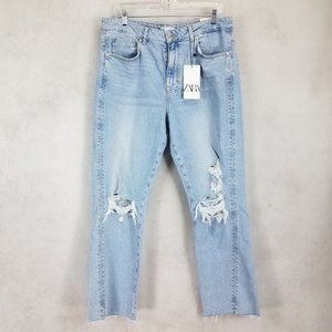 NEW ZARA 12 Ripped Knees Frayed High Rise Jeans Distressed